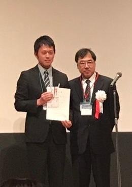 右)大会長 宮崎英士氏,左)受賞者 陶山和晃君
