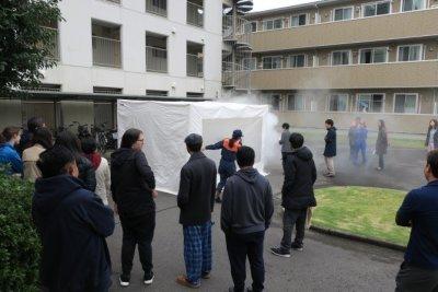 火災現場を想定した煙体験