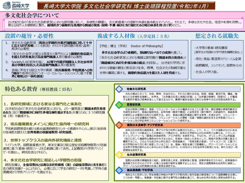 多文化社会学研究科博士後期課程の設置について