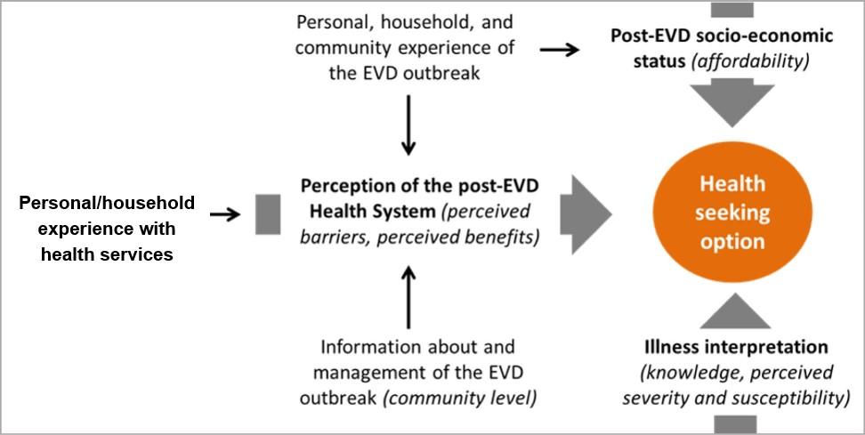 概念図:EVD終息後の健康希求行動に及ぼす要因